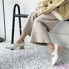 Womens Shoes Pumps Pull on Block Loafers Kitten Heels Party Elegant Square Toe