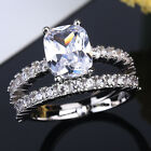UK New Women Engagement Wedding 2Pcs Ring Set Cubic Zirconia Silver Ring Jewelry