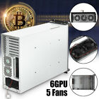 US 6GPU+5 Fans Open Air Mining Frame Rig Machine Crypto Coin Graphics Case 4U