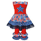 AnnLoren Girls Boutqiue Patriotic Dress Outfit 2-Pc Set sz 12/18 mo-11/12