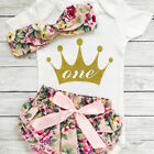 birthday apparel - US Infant Baby Girls First Birthday Outfits Clothes Romper+Shorts Headband Set