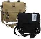 Small Canvas Cotton Shoulder Bag Army Style Flap-Over Black or Beige Hand Bag