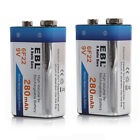 EBL LOT OF 280mAh 9V Ni-MH Rechargeable Battery 6F22 9-Volt High Volume