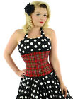 Double Steel Boned Underbust Corset Plaid Tartan Check Red Waist Training