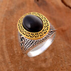 BLACK ONYX GEMSTONE 925 STERLING SILVER PLATED RING SIZE 7, 8, 9, 10,11 SR1002BK