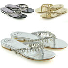 Womens Flip Flop Diamante Sandals Ladies Sparkly Toe Post Holiday Beach Sliders