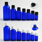 Empty Cobalt Blue Glass Mini Essential Oil Refillable Bottle Plastic Lids 12 Pcs