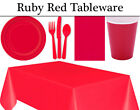 Ruby Red Birthday Party Tableware - Plates, Napkins, Cutlery, Cups & Tablecover