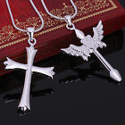 925 Sterling Silver Cross Design Wing Couples Pendant Necklace Jewelry A376