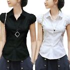 Office Shirt Fitted Ladies Casual Vintage Blouse Cotton Blend Top UK Size 6-12