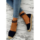 LADIES WOMENS FLAT HEEL STUD SUMMER ESPADRILLES ANKLE STRAP SANDALS SHOES SIZE