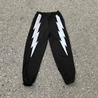 Mens 3M Reflective Lightning Graphic Printed Jogger Pants Sweatpants Black Small
