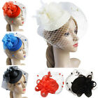 Women Ladies Flower Veil Hair Clip Top Hat Fascinator Wedding Cocktail Party Hat