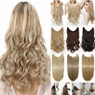 AU 100% Natural Secret Head Band Wire Clip in Straight Wavy Hair Extensions F5i