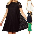 Plus Size Women Short Sleeve Lace Hollow Out Casual Tops A-line Skirt Dress GB