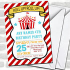 Red Stripes Circus Children's Birthday Party Invitations