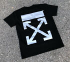 Mens 3M Reflective Diagonal Arrows OFF Graphic Short Sleeve T-Shirts Black White