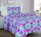 3/4 Piece TWIN/FULL Kids/Teens Fitted Flat SHEET Pillow Cases Set Butterfly Blue image
