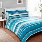 Rapport Stratos Teal White Striped 100% Brushed Cotton Duvet Cover Bedding