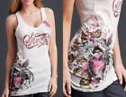 SINFUL by AFFLICTION Womens TANK TOP T-Shirt HERBAL Rhinestone Accents $48 NWT