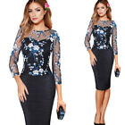 Womens Elegant See-Through Mesh Floral Embroidered Cocktail Party Sheath Dress