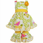 AnnLoren Girls Yellow Birds & Floral Vine Dress and Capri Outfit 2/3T-11/12