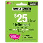 Simple Mobile - Preloaded Sim Card - Monthly Plan Included - Choose Your Plan