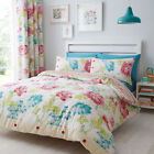Catherine Lansfield Stab Stitch Floral Reversible Duvet Cover Set, Multi