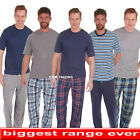 Mens Pyjamas Set Pjs Check T-shirt TOP  & LOUNGE Bottoms Pants Pajamas
