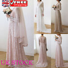 Womens Bride Maid Wedding Dress Wrap Deep V Lace Maxi Dress Evening Party Gown