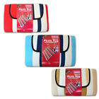 Linens Limited Stripe Foldable Waterproof Fleece Picnic Blanket