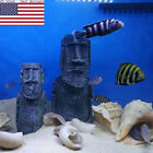 Easter Island Aquarium Resin Stone Head Statue Decora Ornament Fish Tank Newly