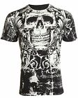 ARCHAIC by AFFLICTION Mens T-Shirt KILLROY Skull BLACK Motorcycle Biker $40 image
