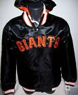 SAN FRANCISCO GIANTS Hooded Satin Jacket BLACK ORANGE Removable Hood XL