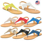 DREAM PAIRS Women's T-Strap Rhinestone Casual Wear Cut Out Thong Flat Sandals