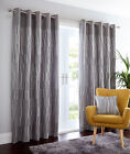 DETROIT CHARCOAL CURTAINS EYELET LINED RING GREY SLATE TEXTURED GEOMETRIC LINES