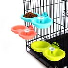 Small Pet Cat Dog Bird Rabbit Dual Bowl Feeder Cage Feeding Food Water Dispenser