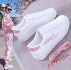 Womens Fashion embroidery Lace Up White Board Shoes Casual Sport Shoes Hot