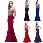 Evening Long Prom Dresses Formal Party Mermaid Gown Bridesmaid Lace Dress