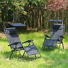 Garden Outdoor Adjustable Folding 2 X Chair Zero Gravity Reclining Sunloungers
