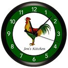 GREEN ROOSTER WALL CLOCK COUNTRY KITCHEN PERSONALIZED QUIET MOTOR COUNTRY RED