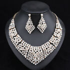 Women Gold Plated Full Rhinestones Necklace Earrings Bridal Wedding Jewelry Sets