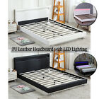 Kyпить Full/ Queen Size Bed Frame Bedroom Platform w/ LED Light Headboard Black & White на еВаy.соm