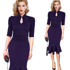 Womens Vintage Keyhole Ruched Business Cocktail Party Mermaid Midi Wiggle Dress