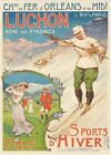Vintage Luchon French Pyrenees Winter Sports and Golf Poster Print A3/A4