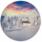 Conceive Art 'Snowfall Covering Trees and Houses' Photographic Print on Metal