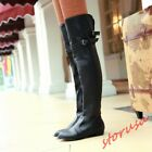 Women Lady  Over Knee High Riding Boots shoes Strap Buckle Leather Size 4-10.5
