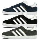 Adidas Mens Gazelle Trainers Nubuck Leather Rubber Sole Black Navy Grey Footwear