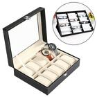 10 / 18 Slot Watch Box Leather Display Case Organizer Top Glass Storage 01