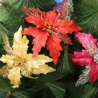 Christmas Party Poinsettia Glitter Flower Gold Bow Clip On Decor Xmas Tree Hot
